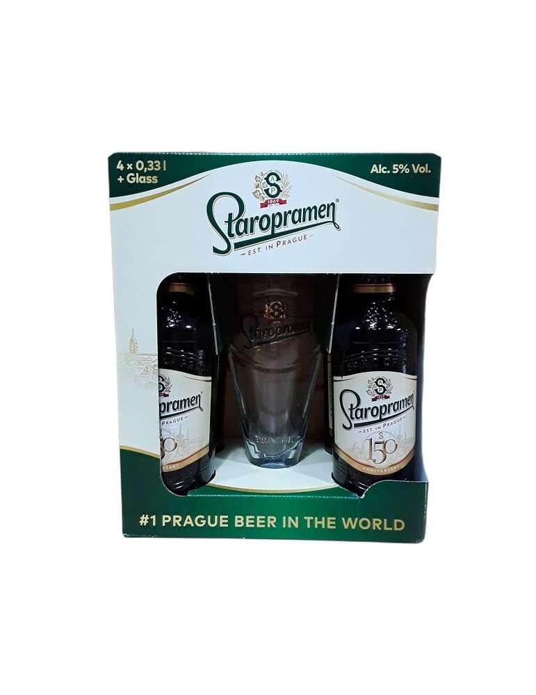 Pack 4 Cervezas Staropranen + Vaso